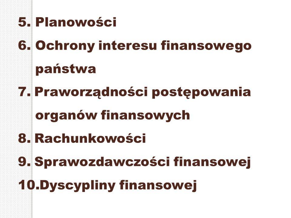 5. Planowości 6. Ochrony interesu finansowego państwa 7.Praworządności postępowania organów finansowych 8.Rachunkowości 9.Sprawozdawczości finansowej