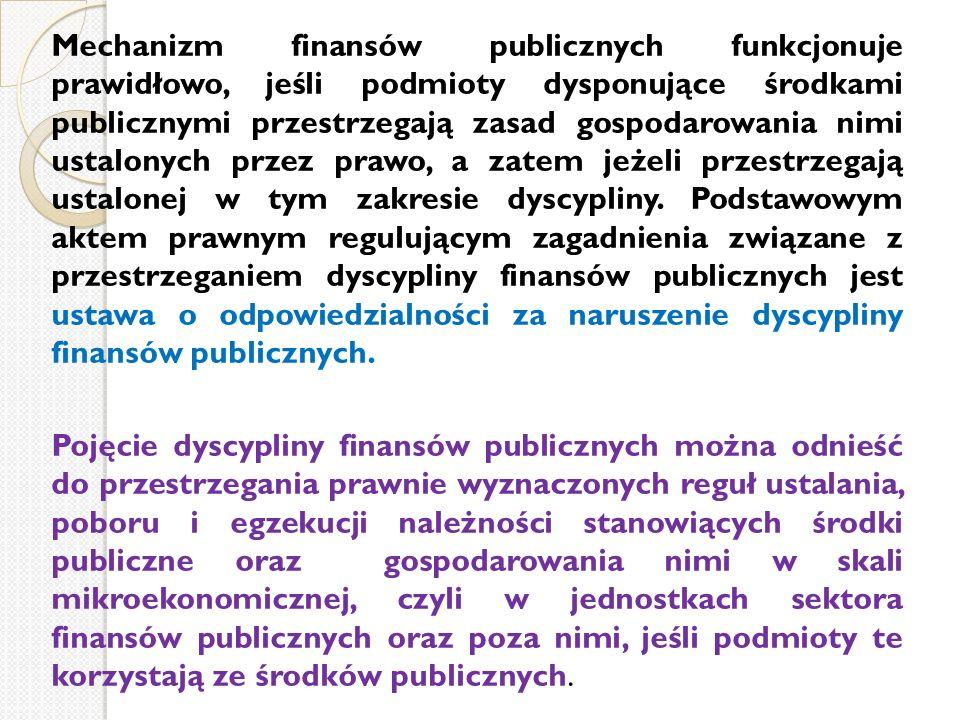 Mechanizm finansów publicznych funkcjonuje prawidłowo, jeśli podmioty dysponujące środkami publicznymi przestrzegają zasad gospodarowania nimi ustalon