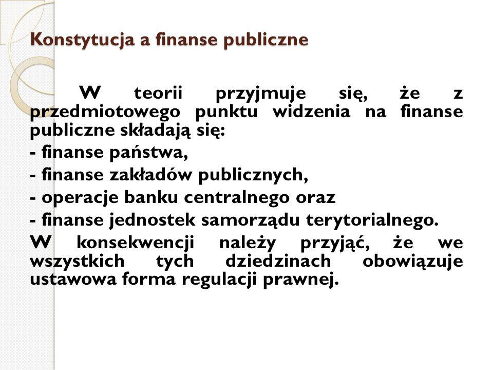 Konstytucja a finanse publiczne W teorii przyjmuje się, że z przedmiotowego punktu widzenia na finanse publiczne składają się: - finanse państwa, - fi