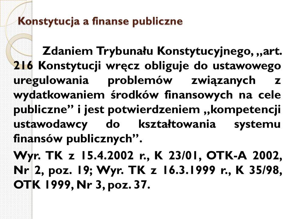 """Konstytucja a finanse publiczne Zdaniem Trybunału Konstytucyjnego, """"art. 216 Konstytucji wręcz obliguje do ustawowego uregulowania problemów związanyc"""