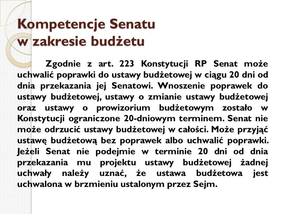 Kompetencje Senatu w zakresie budżetu Zgodnie z art. 223 Konstytucji RP Senat może uchwalić poprawki do ustawy budżetowej w ciągu 20 dni od dnia przek