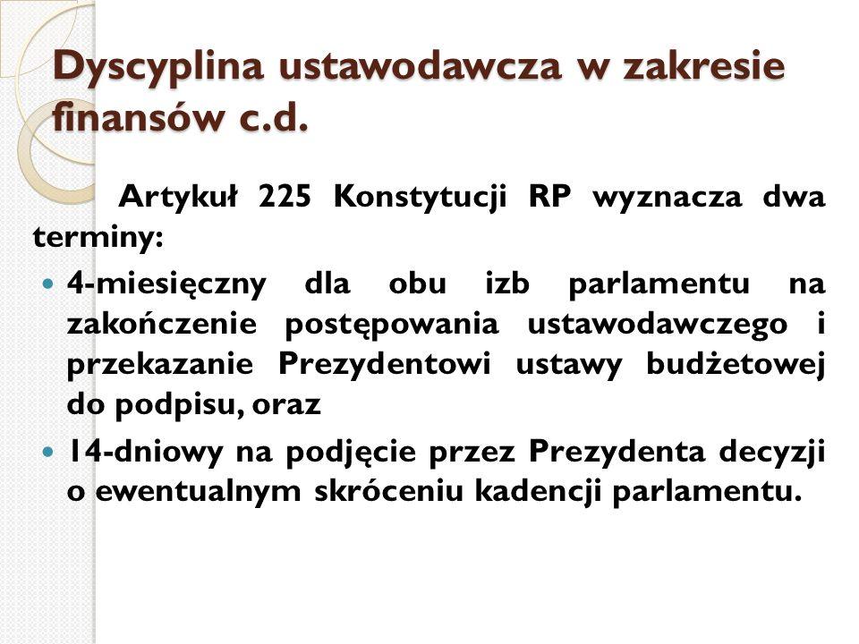 Dyscyplina ustawodawcza w zakresie finansów c.d. Artykuł 225 Konstytucji RP wyznacza dwa terminy: 4-miesięczny dla obu izb parlamentu na zakończenie p