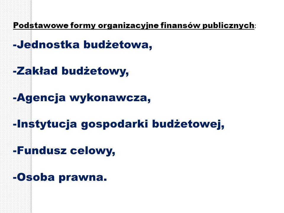 Podstawowe formy organizacyjne finansów publicznych : -Jednostka budżetowa, -Zakład budżetowy, -Agencja wykonawcza, -Instytucja gospodarki budżetowej,