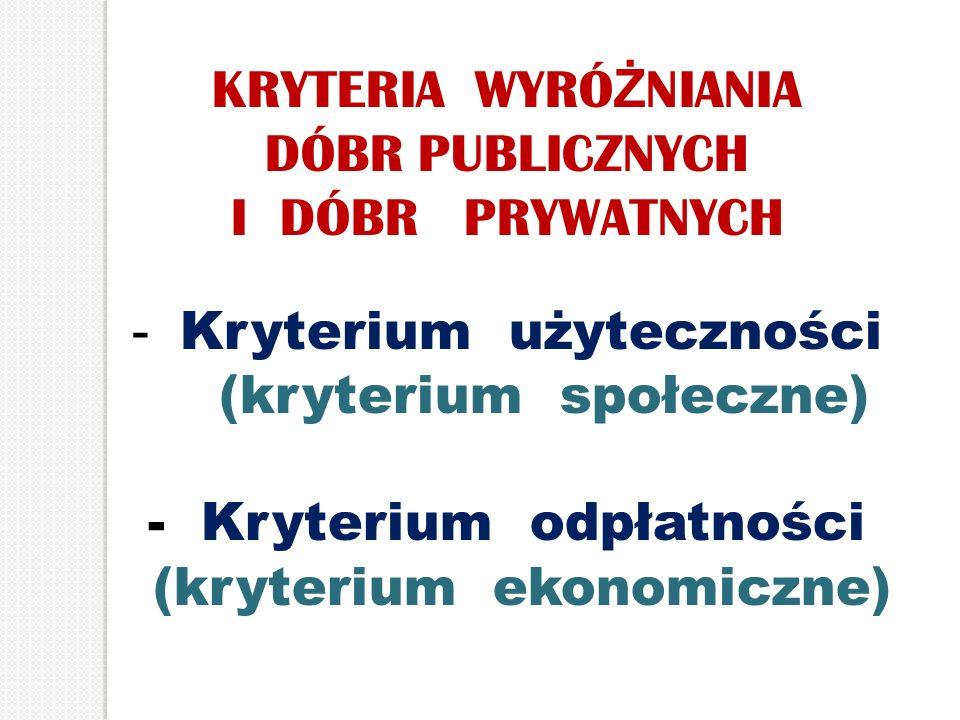 KRYTERIA WYRÓ Ż NIANIA DÓBR PUBLICZNYCH I DÓBR PRYWATNYCH - Kryterium użyteczności (kryterium społeczne) - Kryterium odpłatności (kryterium ekonomiczn