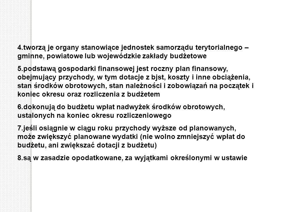 4.tworzą je organy stanowiące jednostek samorządu terytorialnego – gminne, powiatowe lub wojewódzkie zakłady budżetowe 5.podstawą gospodarki finansowe