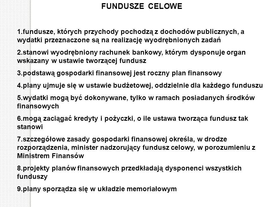 FUNDUSZE CELOWE 1.fundusze, których przychody pochodzą z dochodów publicznych, a wydatki przeznaczone są na realizację wyodrębnionych zadań 2.stanowi