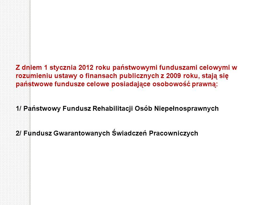 Z dniem 1 stycznia 2012 roku państwowymi funduszami celowymi w rozumieniu ustawy o finansach publicznych z 2009 roku, stają się państwowe fundusze cel
