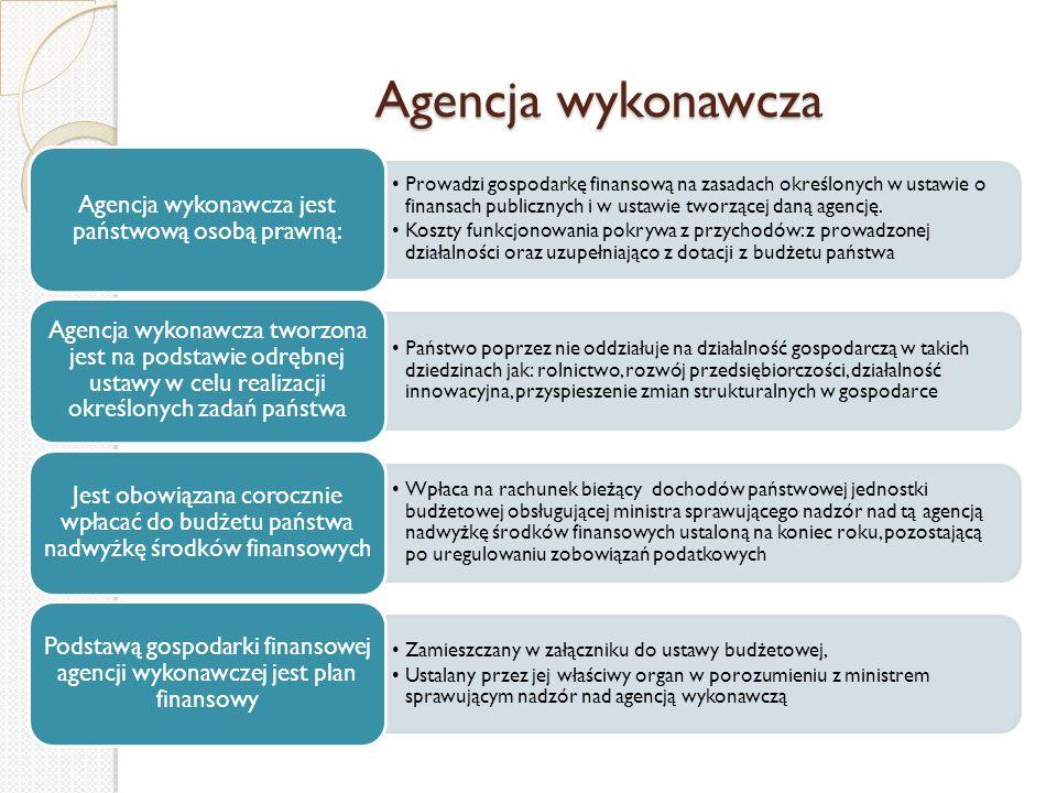 Agencja wykonawcza Prowadzi gospodarkę finansową na zasadach określonych w ustawie o finansach publicznych i w ustawie tworzącej daną agencję. Koszty