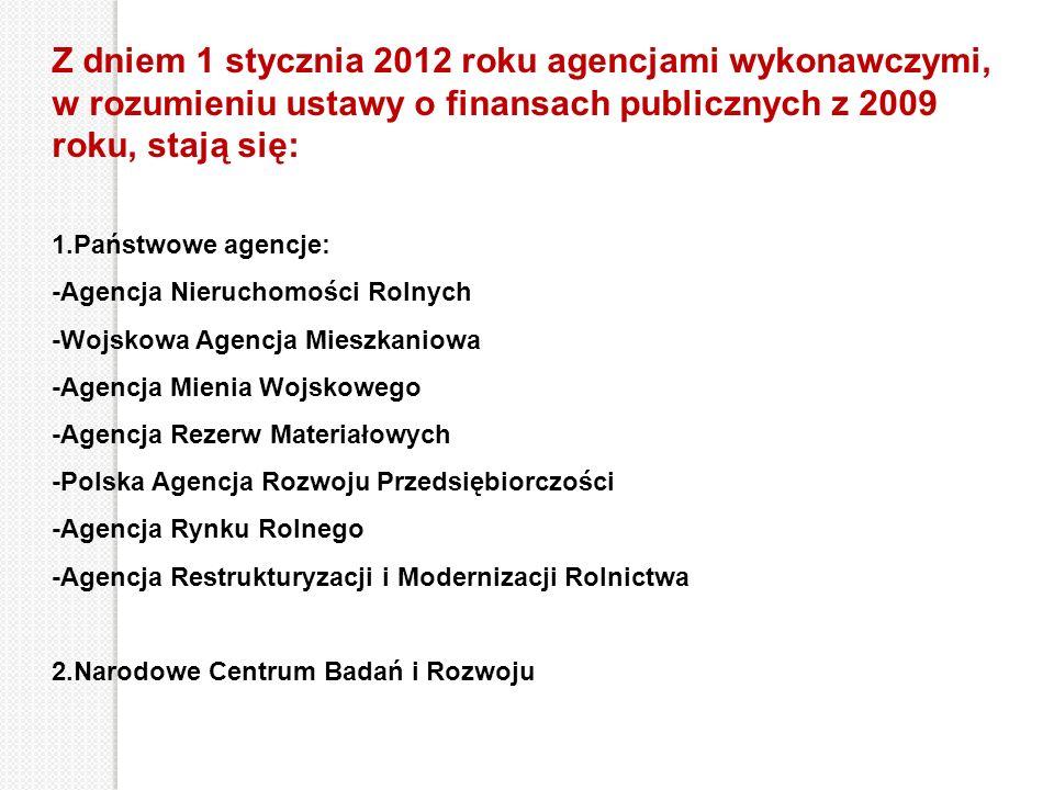 Z dniem 1 stycznia 2012 roku agencjami wykonawczymi, w rozumieniu ustawy o finansach publicznych z 2009 roku, stają się: 1.Państwowe agencje: -Agencja