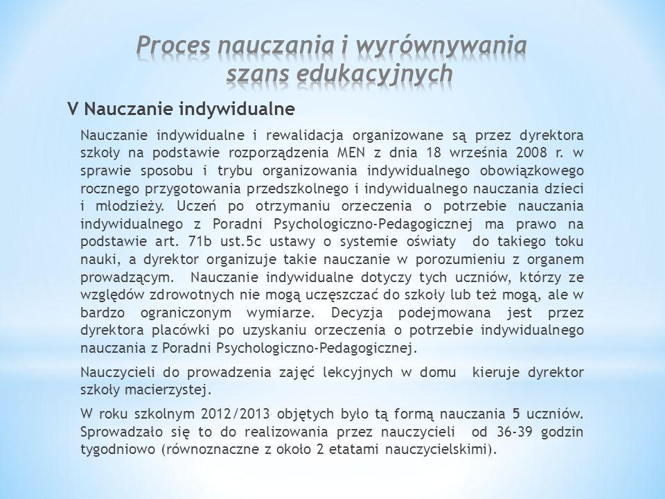 V Nauczanie indywidualne Nauczanie indywidualne i rewalidacja organizowane są przez dyrektora szkoły na podstawie rozporządzenia MEN z dnia 18 września 2008 r.