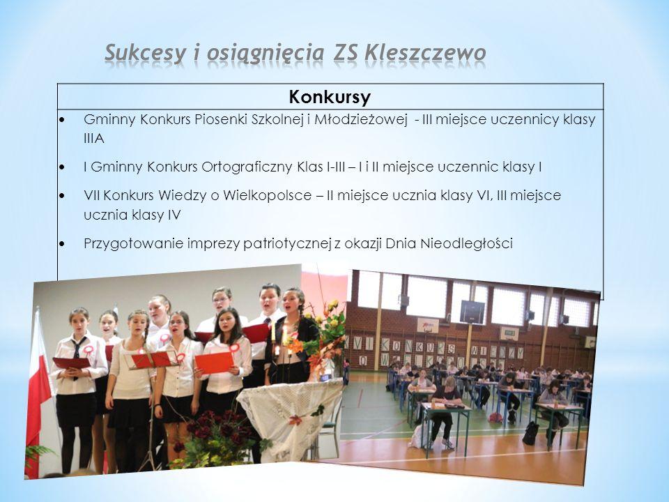 Konkursy  Gminny Konkurs Piosenki Szkolnej i Młodzieżowej - III miejsce uczennicy klasy IIIA  I Gminny Konkurs Ortograficzny Klas I-III – I i II mie