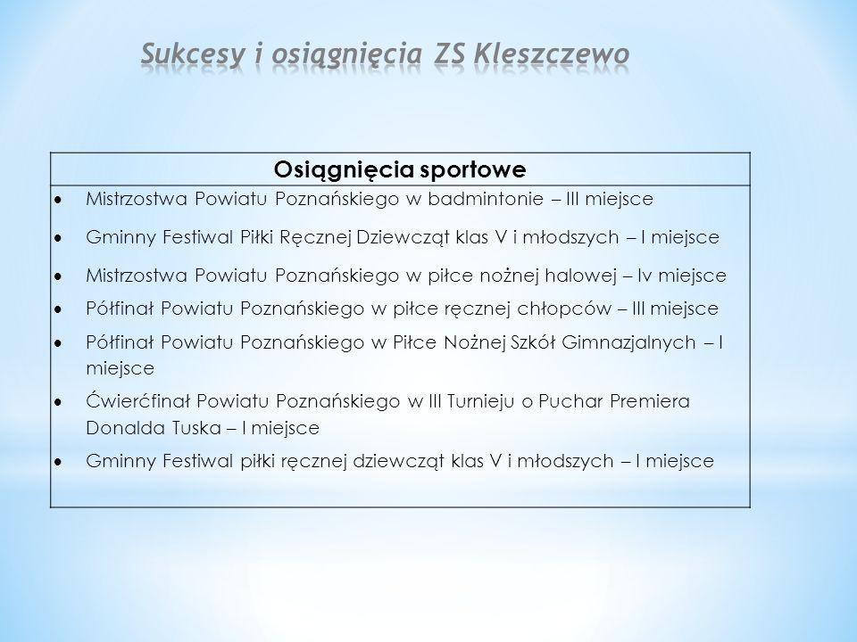 Osiągnięcia sportowe  Mistrzostwa Powiatu Poznańskiego w badmintonie – III miejsce  Gminny Festiwal Piłki Ręcznej Dziewcząt klas V i młodszych – I m