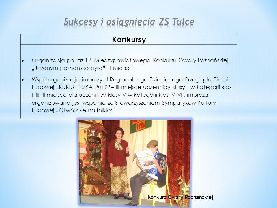 """Konkursy  Organizacja po raz 12. Międzypowiatowego Konkursu Gwary Poznańskiej """"Jezdnym poznańsko pyra""""– I miejsce  Współorganizacja imprezy III Regi"""