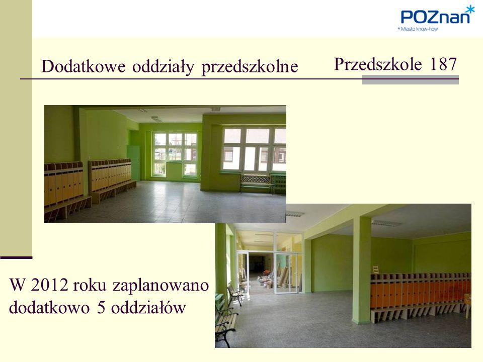 Dodatkowe oddziały przedszkolne Przedszkole 187 W 2012 roku zaplanowano dodatkowo 5 oddziałów