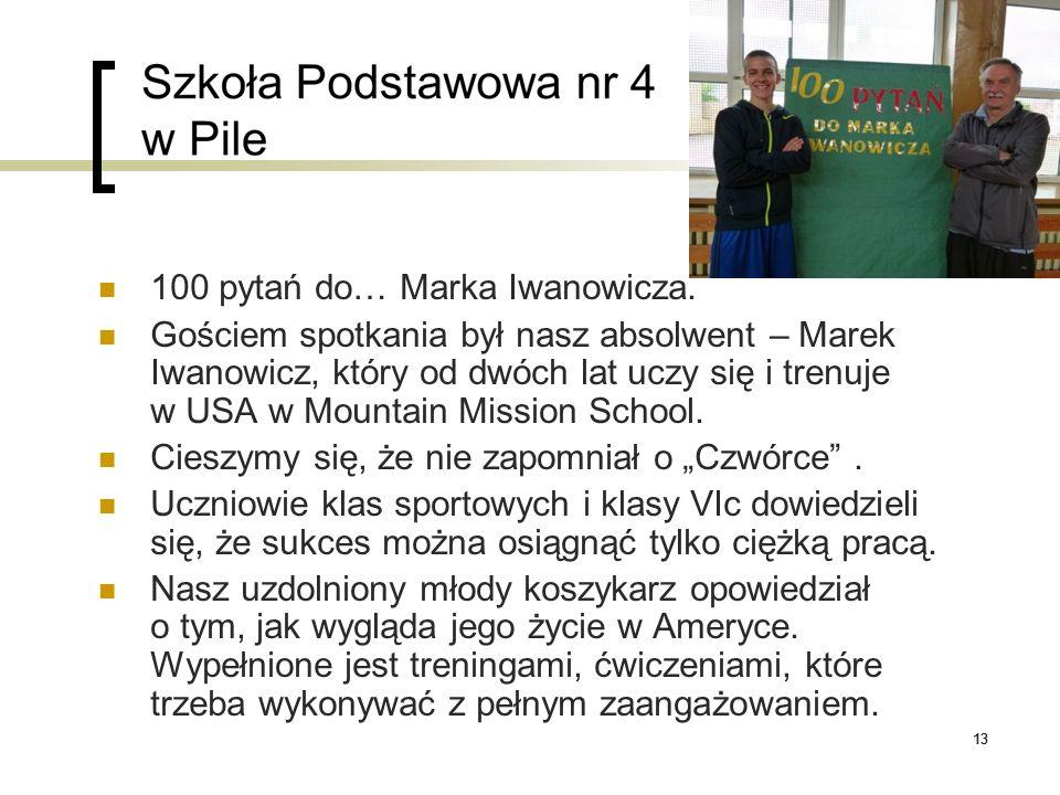13 100 pytań do… Marka Iwanowicza. Gościem spotkania był nasz absolwent – Marek Iwanowicz, który od dwóch lat uczy się i trenuje w USA w Mountain Miss