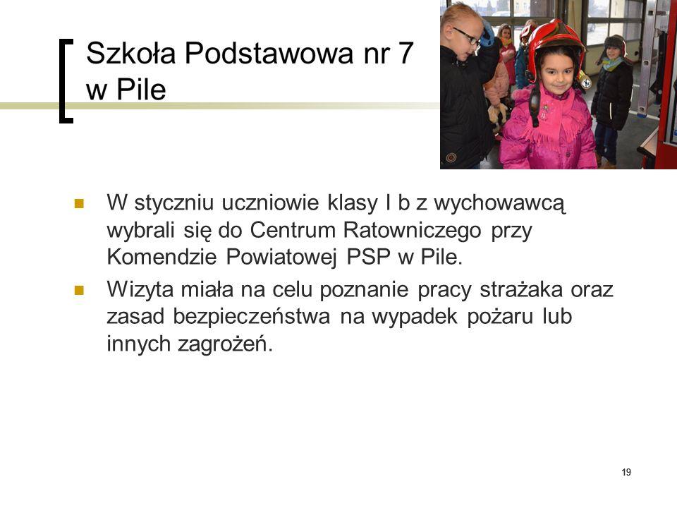 19 W styczniu uczniowie klasy I b z wychowawcą wybrali się do Centrum Ratowniczego przy Komendzie Powiatowej PSP w Pile. Wizyta miała na celu poznanie