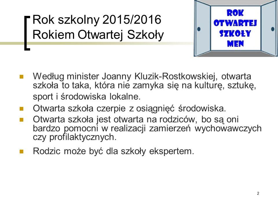 22 Rok szkolny 2015/2016 Rokiem Otwartej Szkoły Według minister Joanny Kluzik-Rostkowskiej, otwarta szkoła to taka, która nie zamyka się na kulturę, s