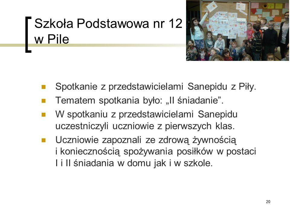 """20 Szkoła Podstawowa nr 12 w Pile Spotkanie z przedstawicielami Sanepidu z Piły. Tematem spotkania było: """"II śniadanie"""". W spotkaniu z przedstawiciela"""