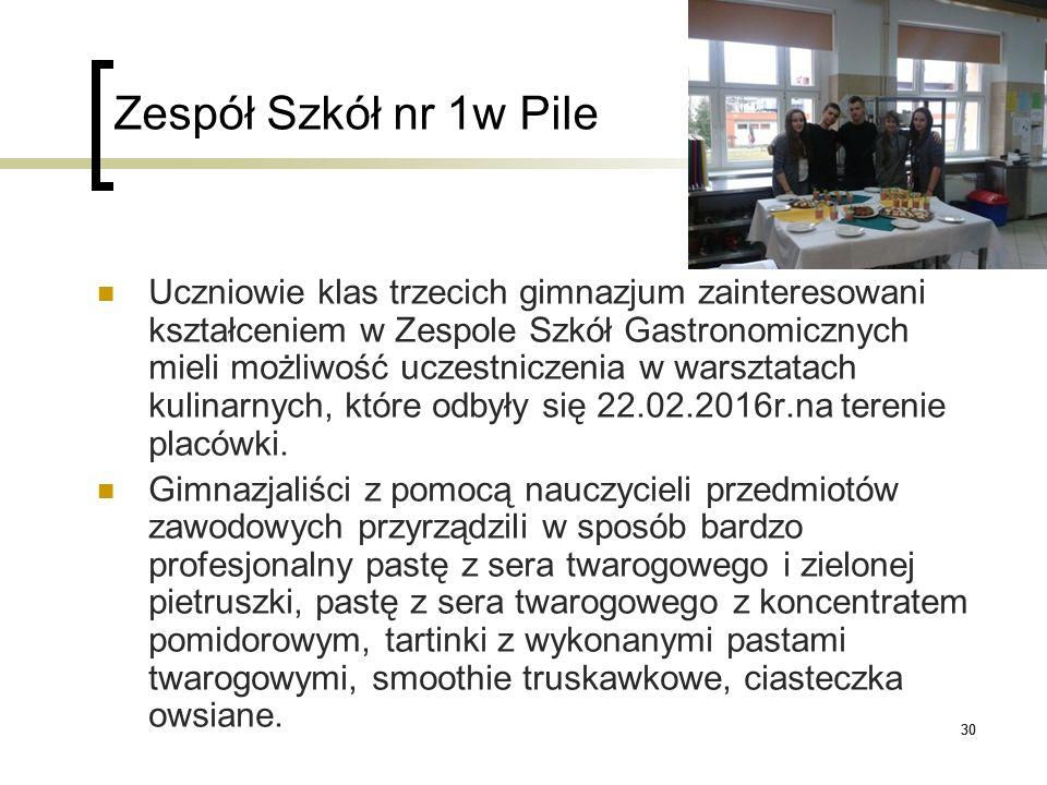 30 Zespół Szkół nr 1w Pile Uczniowie klas trzecich gimnazjum zainteresowani kształceniem w Zespole Szkół Gastronomicznych mieli możliwość uczestniczen