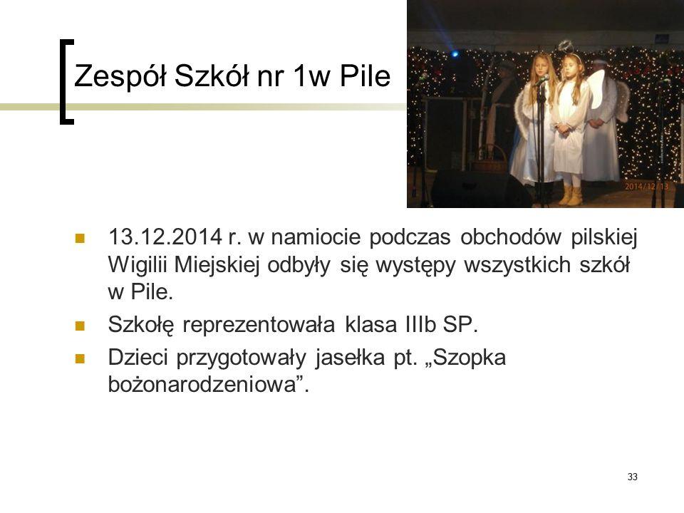 33 Zespół Szkół nr 1w Pile 13.12.2014 r. w namiocie podczas obchodów pilskiej Wigilii Miejskiej odbyły się występy wszystkich szkół w Pile. Szkołę rep