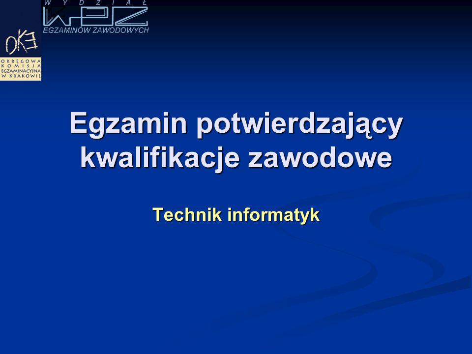 Egzamin potwierdzający kwalifikacje zawodowe Technik informatyk