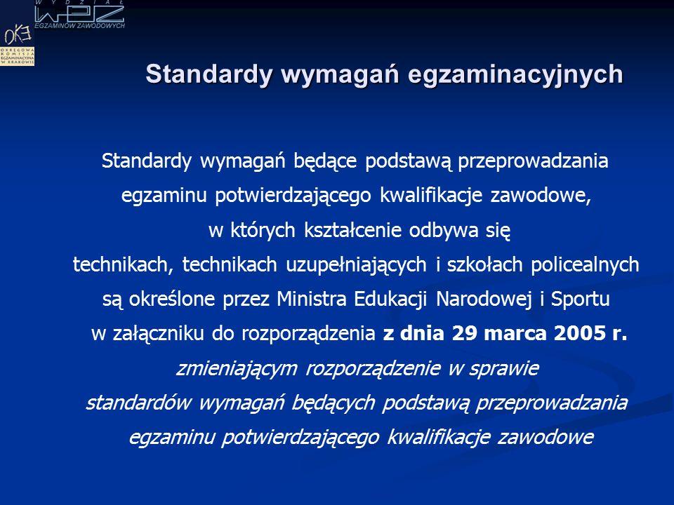 Standardy wymagań egzaminacyjnych Standardy wymagań będące podstawą przeprowadzania egzaminu potwierdzającego kwalifikacje zawodowe, w których kształcenie odbywa się technikach, technikach uzupełniających i szkołach policealnych są określone przez Ministra Edukacji Narodowej i Sportu w załączniku do rozporządzenia z dnia 29 marca 2005 r.