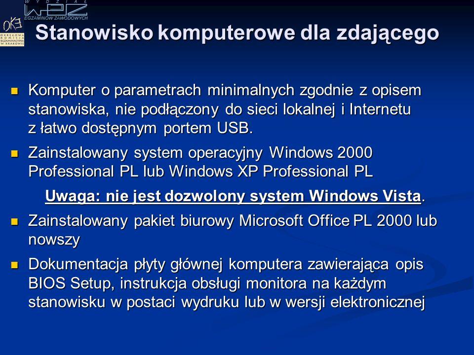 Stanowisko egzaminacyjne (wg standardu wymagań egzaminacyjnych) Komputer podłączony do sieci lokalnej, drukarka sieciowa.