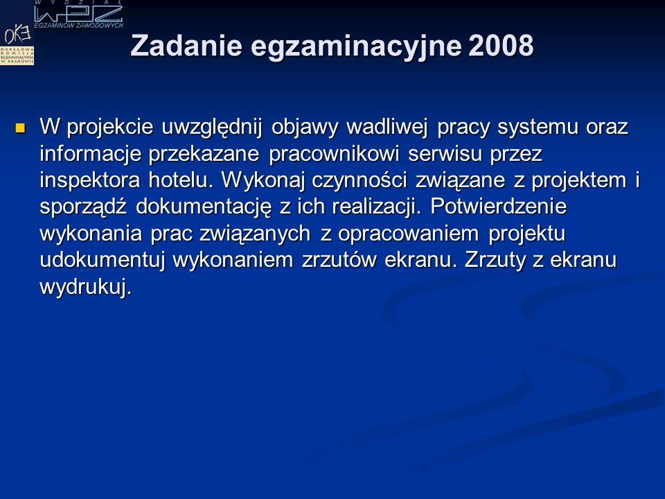 """Zadanie egzaminacyjne 2008 W recepcji hotelu """"Zacisze znajduje się komputer, który używany jest do prac związanych z rejestracją gości hotelowych."""