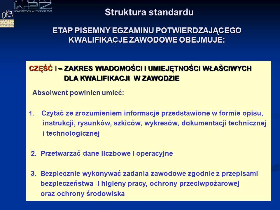 Struktura standardu CZĘŚĆ I – ZAKRES WIADOMOŚCI I UMIEJĘTNOŚCI WŁAŚCIWYCH DLA KWALIFIKACJI W ZAWODZIE Absolwent powinien umieć: 1.