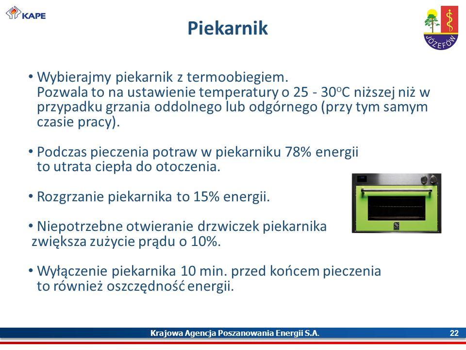 Krajowa Agencja Poszanowania Energii S.A. 22 Piekarnik Wybierajmy piekarnik z termoobiegiem.