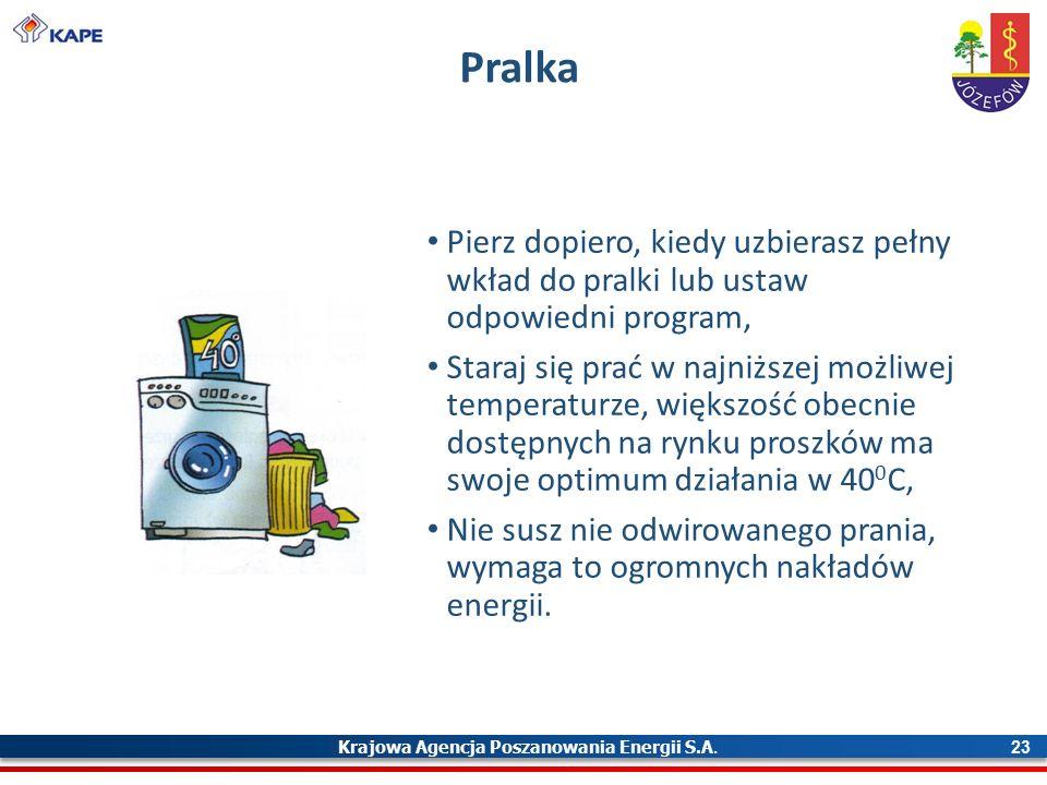 Krajowa Agencja Poszanowania Energii S.A. 23 Pralka Pierz dopiero, kiedy uzbierasz pełny wkład do pralki lub ustaw odpowiedni program, Staraj się prać