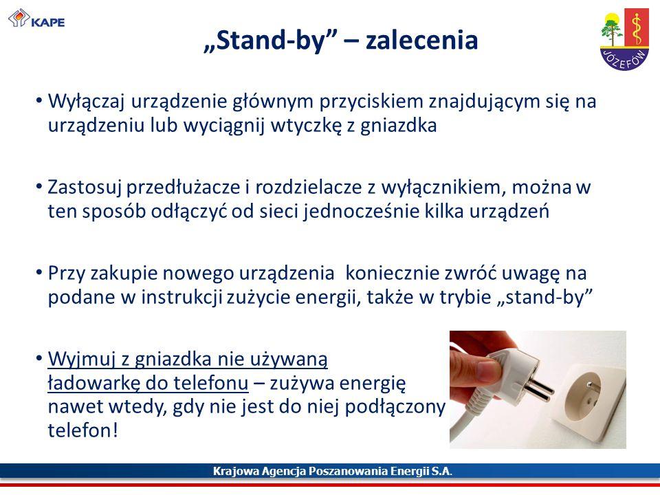 """Krajowa Agencja Poszanowania Energii S.A. """"Stand-by"""" – zalecenia Wyłączaj urządzenie głównym przyciskiem znajdującym się na urządzeniu lub wyciągnij w"""