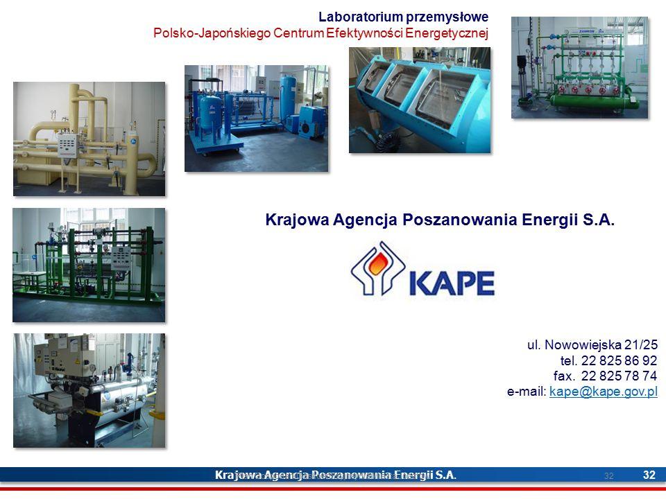 Krajowa Agencja Poszanowania Energii S.A. 32 ul. Nowowiejska 21/25 tel. 22 825 86 92 fax. 22 825 78 74 e-mail: kape@kape.gov.plkape@kape.gov.pl Labora