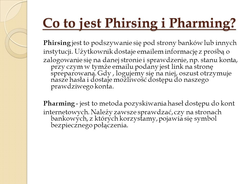 Co to jest Phirsing i Pharming.