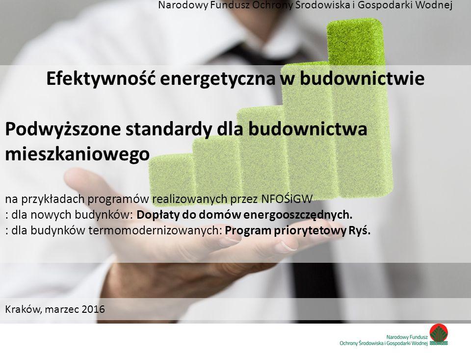 Zainwestujmy razem w środowisko Efektywność energetyczna w budownictwie Podwyższone standardy dla budownictwa mieszkaniowego na przykładach programów realizowanych przez NFOŚiGW : dla nowych budynków: Dopłaty do domów energooszczędnych.
