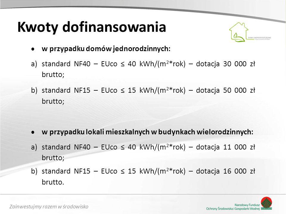 Zainwestujmy razem w środowisko Kwoty dofinansowania  w przypadku domów jednorodzinnych: a)standard NF40 – EUco ≤ 40 kWh/(m 2 *rok) – dotacja 30 000 zł brutto; b)standard NF15 – EUco ≤ 15 kWh/(m 2 *rok) – dotacja 50 000 zł brutto;  w przypadku lokali mieszkalnych w budynkach wielorodzinnych: a)standard NF40 – EUco ≤ 40 kWh/(m 2 *rok) – dotacja 11 000 zł brutto; b)standard NF15 – EUco ≤ 15 kWh/(m 2 *rok) – dotacja 16 000 zł brutto.