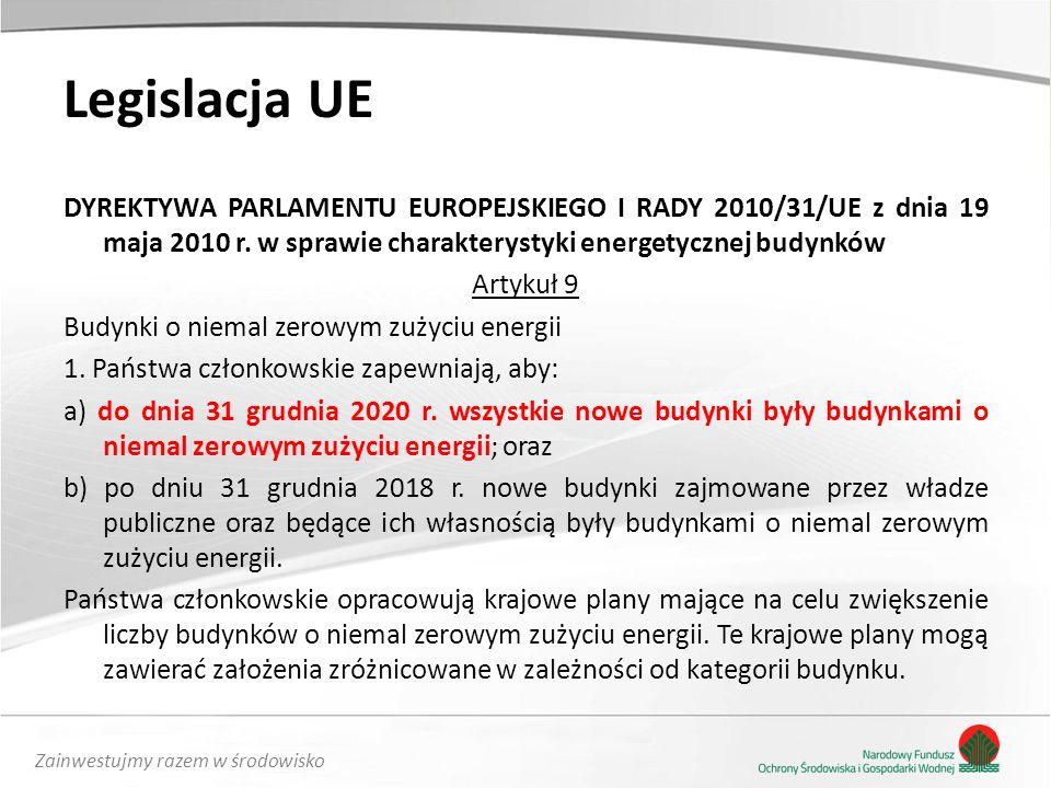Zainwestujmy razem w środowisko Legislacja UE DYREKTYWA PARLAMENTU EUROPEJSKIEGO I RADY 2010/31/UE z dnia 19 maja 2010 r. w sprawie charakterystyki en