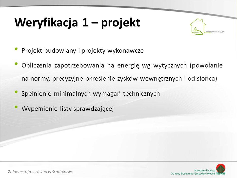 Zainwestujmy razem w środowisko Weryfikacja 1 – projekt Projekt budowlany i projekty wykonawcze Obliczenia zapotrzebowania na energię wg wytycznych (powołanie na normy, precyzyjne określenie zysków wewnętrznych i od słońca) Spełnienie minimalnych wymagań technicznych Wypełnienie listy sprawdzającej