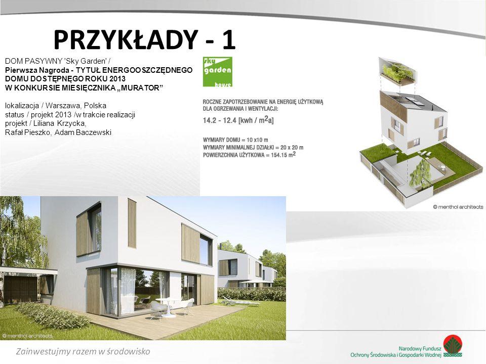 Zainwestujmy razem w środowisko PRZYKŁADY - 1 DOM PASYWNY 'Sky Garden' / Pierwsza Nagroda - TYTUŁ ENERGOOSZCZĘDNEGO DOMU DOSTĘPNĘGO ROKU 2013 W KONKUR