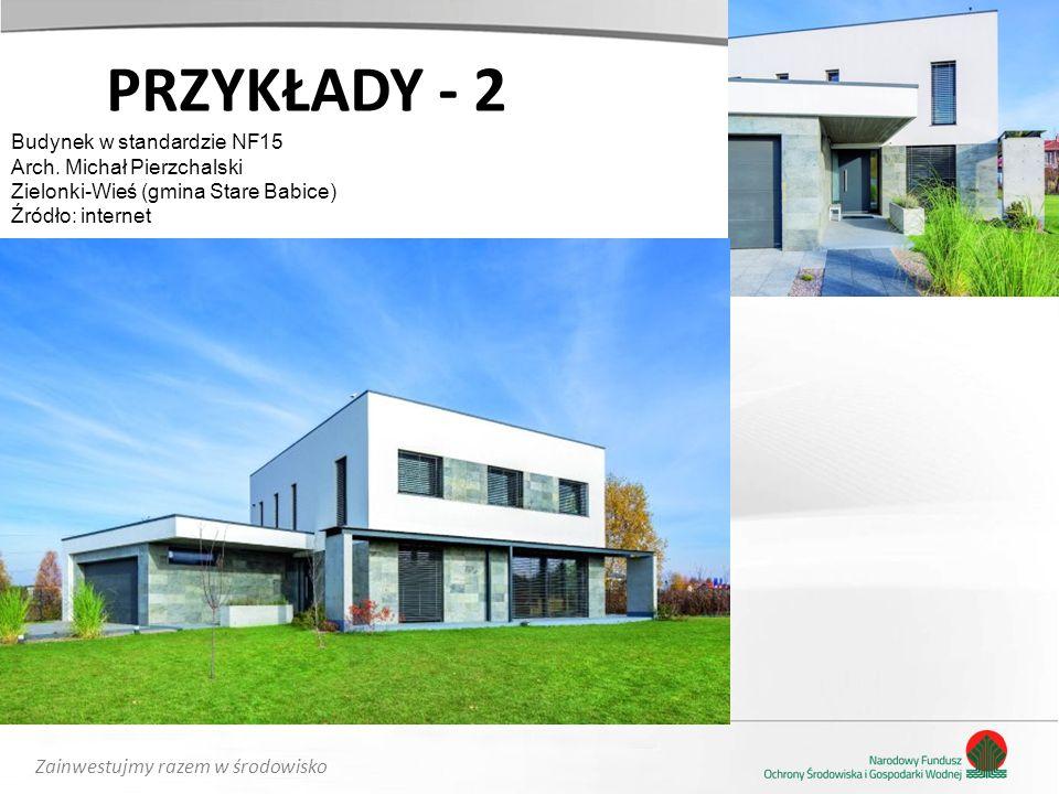 Zainwestujmy razem w środowisko PRZYKŁADY - 2 Budynek w standardzie NF15 Arch. Michał Pierzchalski Zielonki-Wieś (gmina Stare Babice) Źródło: internet