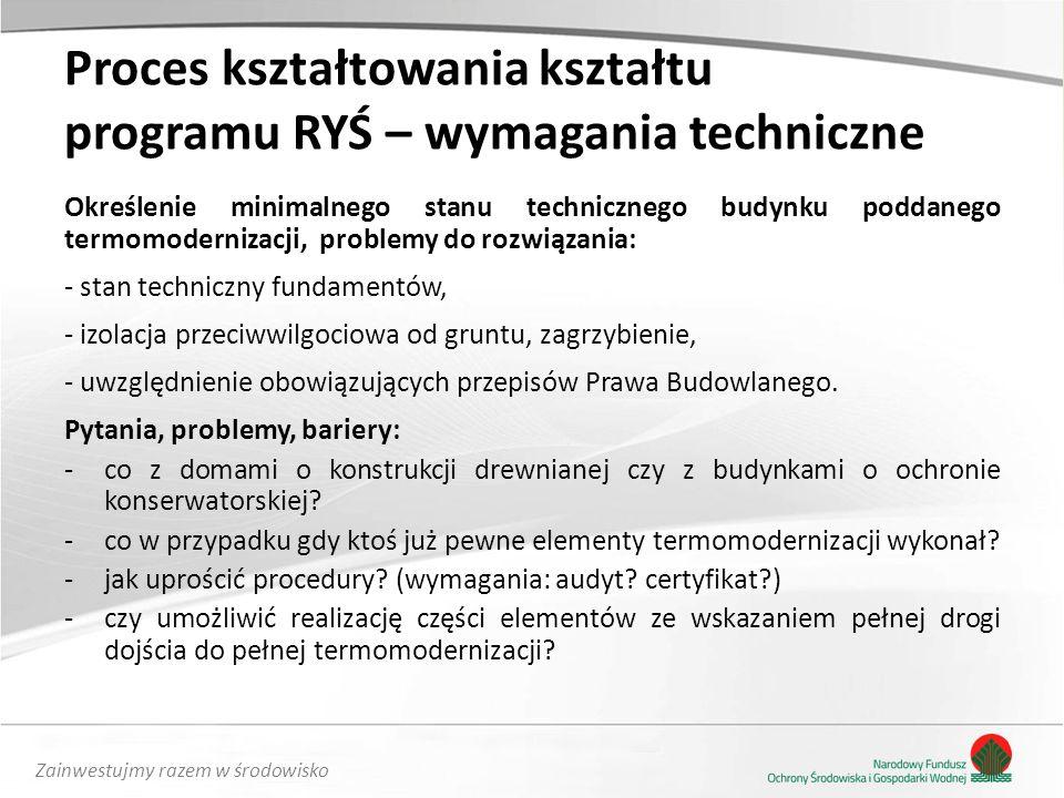 Zainwestujmy razem w środowisko Proces kształtowania kształtu programu RYŚ – wymagania techniczne Określenie minimalnego stanu technicznego budynku po