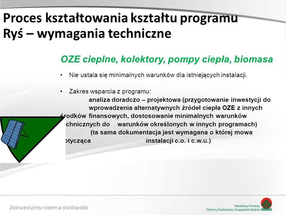 Zainwestujmy razem w środowisko OZE cieplne, kolektory, pompy ciepła, biomasa Nie ustala się minimalnych warunków dla istniejących instalacji. Zakres