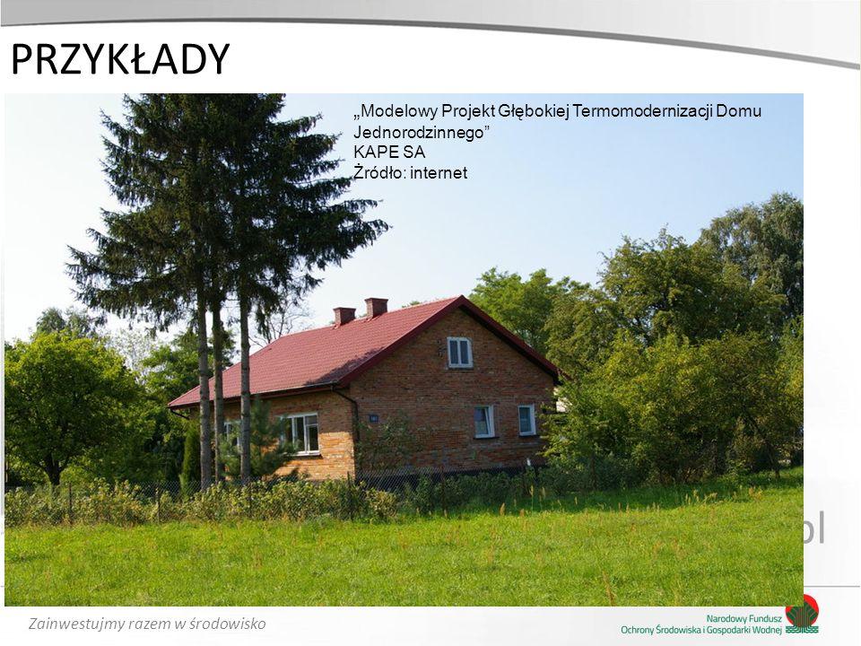 """Zainwestujmy razem w środowisko PRZYKŁADY www.nfosigw.gov.pl """" Modelowy Projekt Głębokiej Termomodernizacji Domu Jednorodzinnego"""" KAPE SA Żródło: inte"""