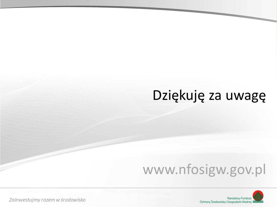 Zainwestujmy razem w środowisko Dziękuję za uwagę www.nfosigw.gov.pl