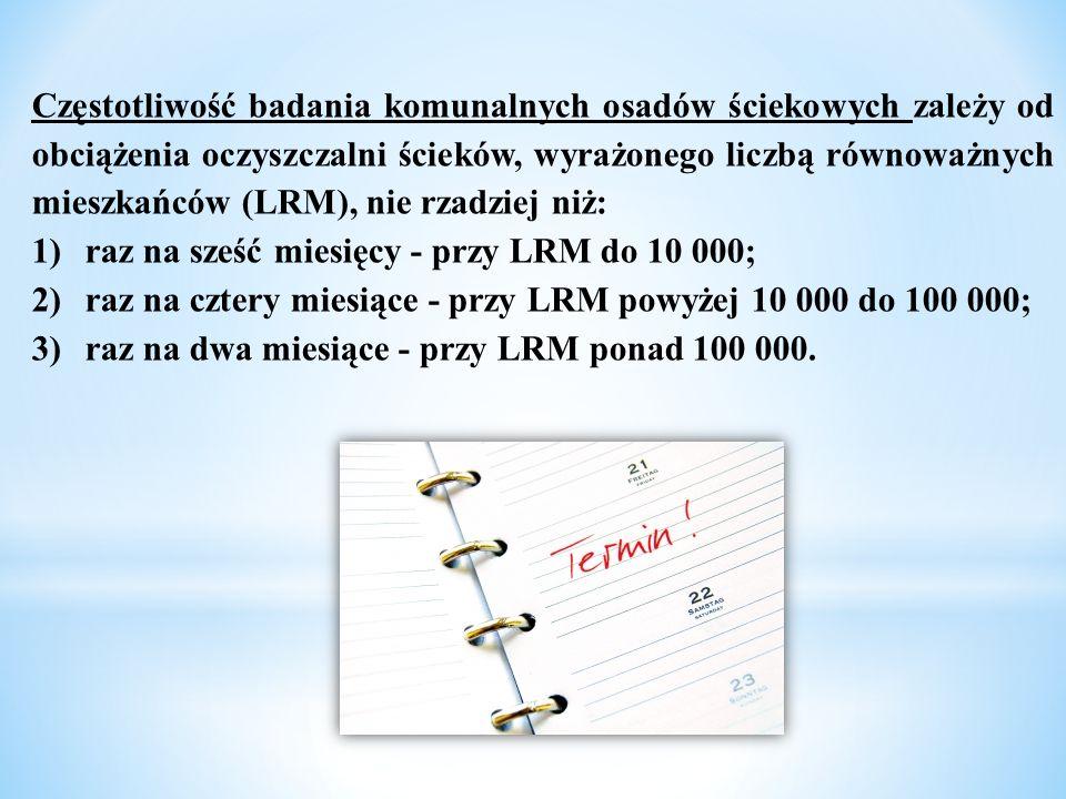 Częstotliwość badania komunalnych osadów ściekowych zależy od obciążenia oczyszczalni ścieków, wyrażonego liczbą równoważnych mieszkańców (LRM), nie r