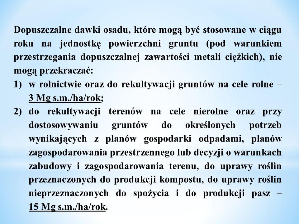 Dopuszczalne dawki osadu, które mogą być stosowane w ciągu roku na jednostkę powierzchni gruntu (pod warunkiem przestrzegania dopuszczalnej zawartości