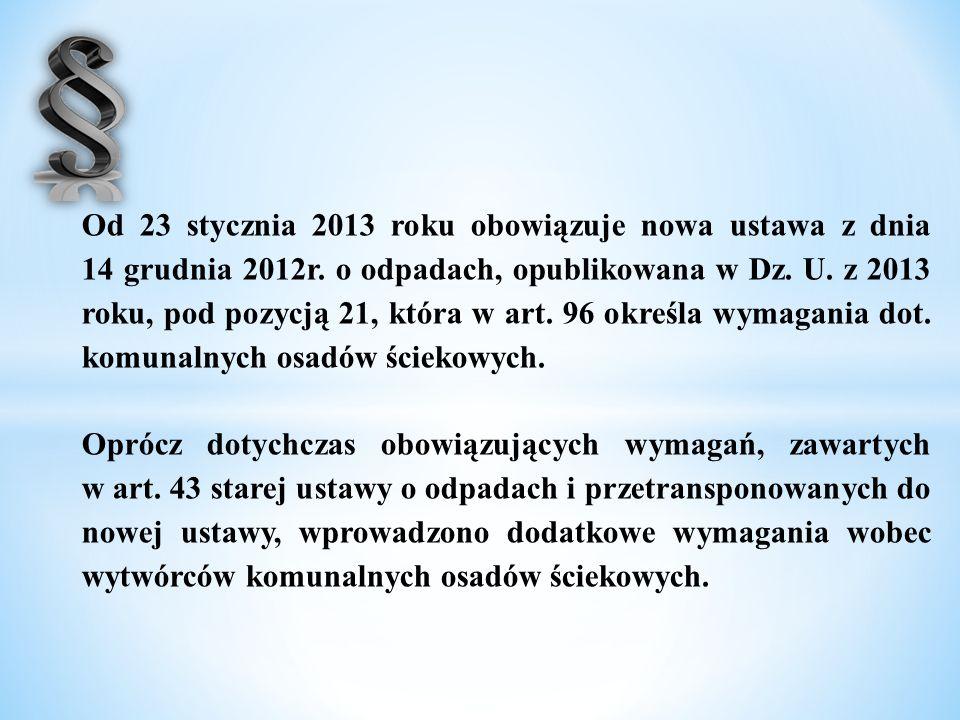 Od 23 stycznia 2013 roku obowiązuje nowa ustawa z dnia 14 grudnia 2012r. o odpadach, opublikowana w Dz. U. z 2013 roku, pod pozycją 21, która w art. 9