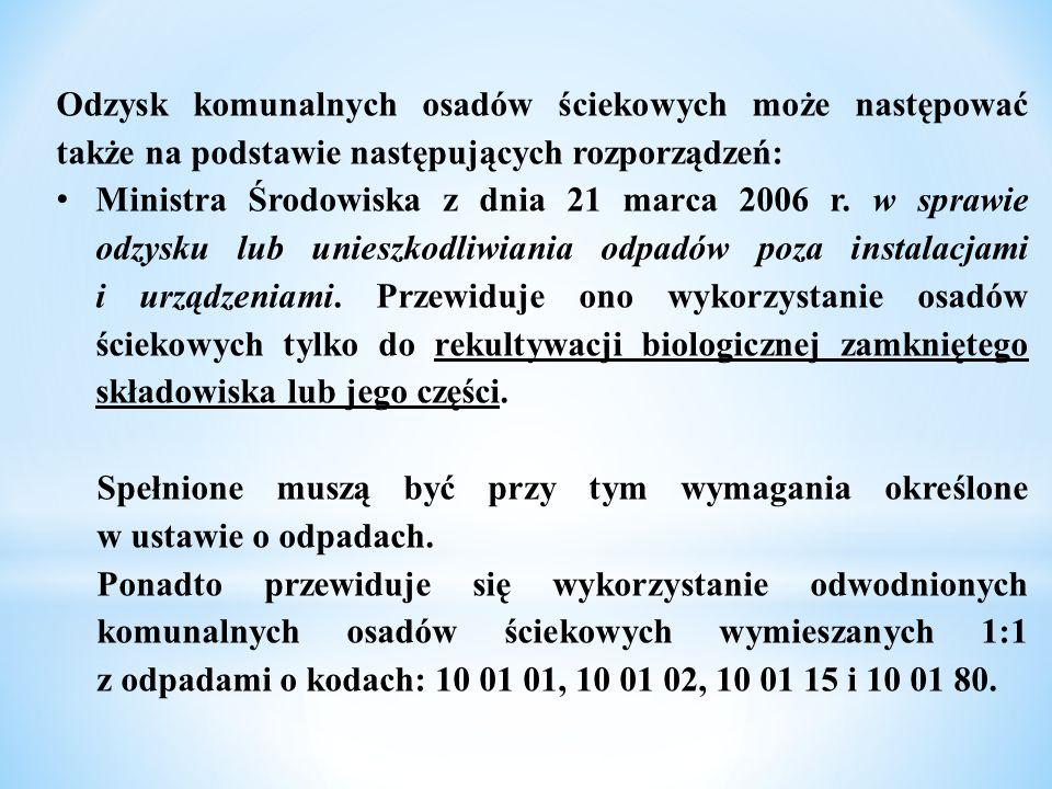 Odzysk komunalnych osadów ściekowych może następować także na podstawie następujących rozporządzeń: Ministra Środowiska z dnia 21 marca 2006 r. w spra