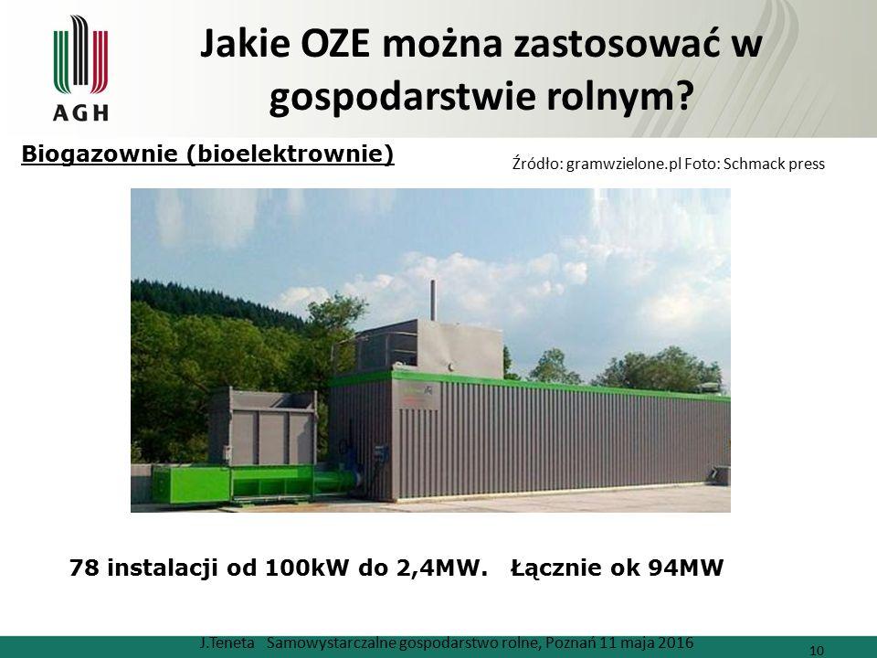 Jakie OZE można zastosować w gospodarstwie rolnym? J.Teneta Samowystarczalne gospodarstwo rolne, Poznań 11 maja 2016 10 Źródło: gramwzielone.pl Foto: