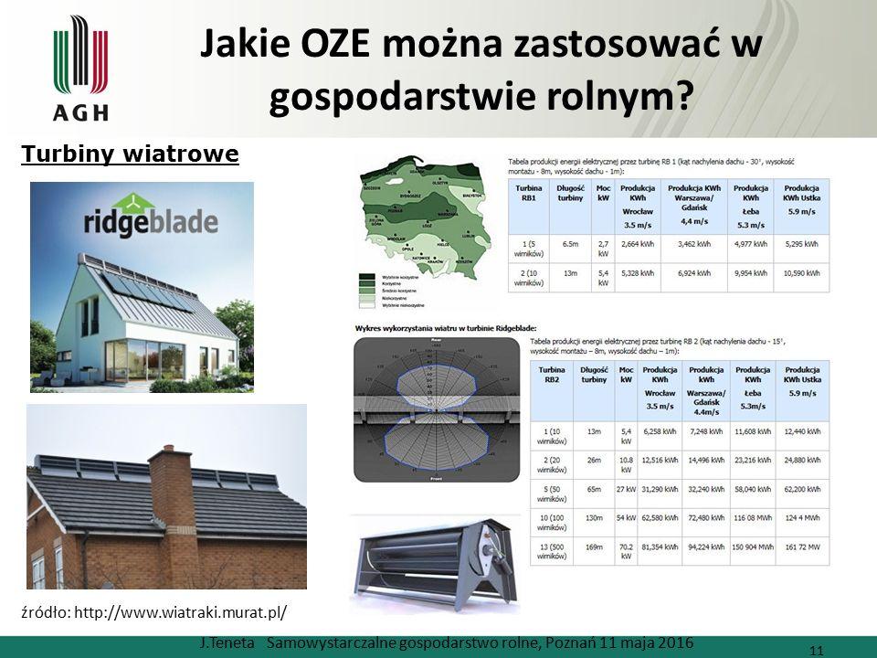 Jakie OZE można zastosować w gospodarstwie rolnym? J.Teneta Samowystarczalne gospodarstwo rolne, Poznań 11 maja 2016 11 źródło: http://www.wiatraki.mu
